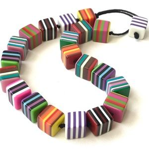 Handmade Chunky Striped Cube Bead Necklace